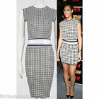 Ladies Rihanna Monochrome Check Crop Top Pencil Shirt Casual Party Two Piece Set