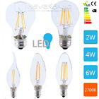 E14 E27 2W 4W 6W Edison Filament COB LED Light Lamp Candle Round Bulb Warm-White
