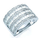 Rhodium Finish Sterling Silver Wide Baguette & Round Ring