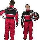 GO - Kart One Piece RACE SUIT Overalls by Qtech Karting Quilted Polycotton - RED
