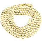 Mens or Ladies 10K Yellow Gold Flat Curb Cuban Chain 3.25mm Necklace 16-30 Inch