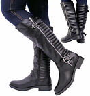 Ladies Womens Knee High Mid Block Heel Quilt Calf Buckle Riding Boots Shoes Size