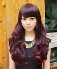 Fashion Women 4color long wave bang 50% human hair full Wig with hair net PO225