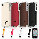 PU LEATHER CHROME HARD CASE COVER FOR APPLE IPHONE 4 4s FREE SCREEN PROTECTOR