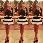 Sexy Lady Celeb Slim Long-sleeved Striped Dress Bottom Skirt Party Cocktail New