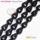 """Fashion Natural Faceted Drop Black Agate Gemstone Loose Bead 15""""13x18mm 10x30mm"""
