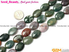 "New Flat Oval Indian Agate Gemstone Jewelery Making Beads Strand 15"" Seed-Beauty"