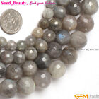 "Round Faceted Labradorite Gem Jewelry Making Loose Beads Strand 15""Size Select"