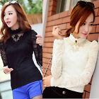Sexy Ladies Long Sleeve Lace Floral Womens Tops Casual Shirt Bottom Solid Blouse