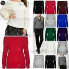 Womens Ladies Chunky Knitted Off Shoulder Bardot Frill Oversized Sweater Jumper