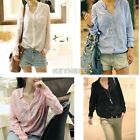Lady Girls OL Career Casual Blouse Tops Chiffon Button Down Long Sleeve Shirt