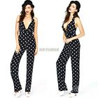 Women Sexy  Deep V-Neck Polka Dot Cocktail Evening Jumpsuit Waist Pants Trousers
