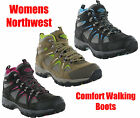 New Womens Leather Waterproof Northwest Hiking Walking Trail Boots Size 3-8 UK