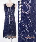 Gatsby 1920's Flapper Dress Black Sequin Downton Abbey Charleston Party WC 3244