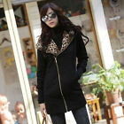 FASHION WOMEN LADY Leopard  Hoody Neck Warm Sweaterjecket Hooded Coats Jackets