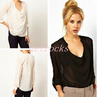 Womens V Scoop Drapped Sheer Chiffon See Through Long Sleeve Blouse Tops Shirt