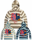 Boys Paddington Bear Knitted Hoodie Kids Striped Jumper New Age 2 3 4 5 6 Years