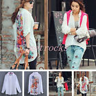 1x Fashion Womens Loose Chiffon Long Sleeve Floral Print Top Blouse Tee Shirt UK