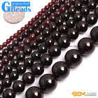 "Natural Genuine Stone Garnet Round Beads For Jewelry Making 15"" 3mm 4mm 5mm 6mm"