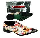 New Fiesso Men's Lady Magazine Print Pointed Metal Toe Sl...