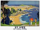TX367 Vintage St. Ives Cornwall British Riviera Travel Railway Poster A2/A3/A4
