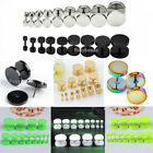 Pair Punk Flat Round Fake Cheater Plugs Barbell Stainless Steel Ear Stud Earring
