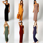 Scoop Neck SLEEVELESS MAXI DRESS! Basic Tank Style in Black Blue Green Red 6534