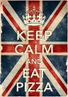 KCV41 Vintage Style Union Jack Keep Calm Eat Pizza Funny Poster Print A2/A3/A4