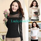 New Women Long Sleeve High Collar Lace Shirt Tops Slim Floral Blouse T-Shirt