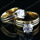 2015 New 316L Stainless Steel 8m CZ Gold Wedding Engagement Ring for Women Mens