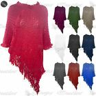 Womens Ladies Tassels Cable Knit Ribbed Waterfall Cardigan Shawl Poncho Top