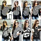 Women Letters Floral Crewneck Long Sleeve Knitted Casual Blouse Loose Tops L XL