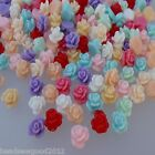 20 SMALL ROSE FLOWER CABOCHONS 8mm Mixed Colour Flat Back Acrylic Embellishment