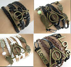 Hot Multi Harry Potter Deathly Hallows Charms Leather Wrap Braided Bracelet