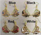 NEW-Bon Voyage ! Cloisonne HANDPAINTED SAILBOAT WIRE EARRINGS-EXCLUSIVE DESIGN
