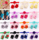 Baby Flower Elastic Headband Crib Pram Shoes Sandals for Baby Feet Hair Headband