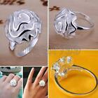 Women Fashion Alloy Silver Ms. Rose Ring Charming Flower Jewelry Gift Multi Size