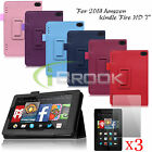 For 2014 Amazon Kindle Fire HD 7 Folio Leather Smart Case Fit Cover+ Screen Film