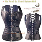 Sexy Punk Black Soft Spiral Steel Boned Faux Leather Corset Top Bustier Cincher