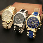 Geneva Stainless Steel Blue Gold Roman Numerals Quartz Analog Wrist Watch Gift