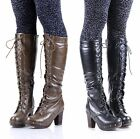 DOLLHOUSE Fashion Rock Faux Leather Knee-High Boots Womens Chunky Heel Shoes