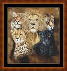 BIG CATS HEADS -  14 COUNT CROSS STITCH CHART (DMC THREADS) FREE PP WORLDWIDE