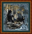 BLACK BEARS -  14 COUNT X STITCH CHART (DMC THREADS) FREE PP WORLDWIDE