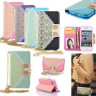 New Shining Buckle Flip Wallet Purse PU Leather Case Cover Stand for Smart Phone