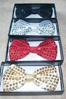 SEQUIN FABRIC BOXED BOW TIE WITH CLIP FASTENING : CHOOSE COLOUR : GB0754