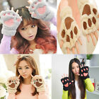 Winter Warm Women Lovely Paw Gloves Fashion Fingerless Fluffy Bear Cat Plush Paw