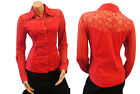 Red Vtg 1950's Glam Rockabilly Western style sheer Mesh Detail Shirt Blouse