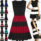 Womens Ladies Sleeveless Color Blocks Stripe Panel Flared Skater Dress Plus Size