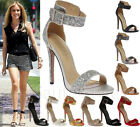 Ladies Womens Mid High Heel Peep Toe Ankle Strappy Cut Out Sandals Shoes Size
