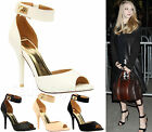 Ladies Womens Mid High Heel Peep Toe Ankle Strap Buckle Sandals Shoes Size